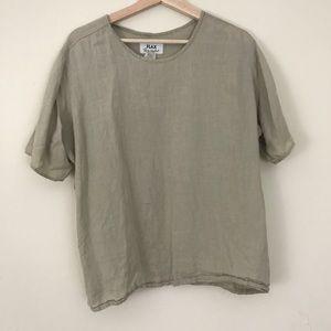 FLAX Boxy Short Sleeve Linen Top